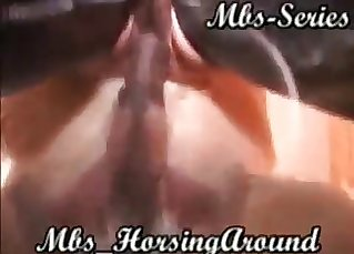 Horse cums a huge load in her twat